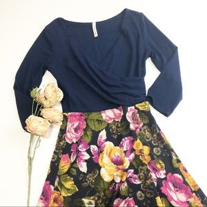 Gilli Navy and Floral Dress